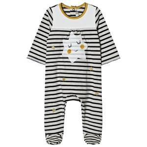 Image of Catimini Girls All in ones Cream Cream and Navy Stripe with Star Print Footed Baby Body