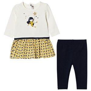 Catimini Girls Clothing sets Cream Cream Star and Girl Print Dress with Leggings Set