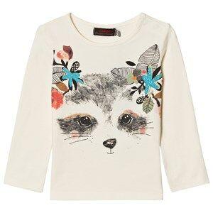 Catimini Girls Tops White White Raccoon with Flowers Print Tee