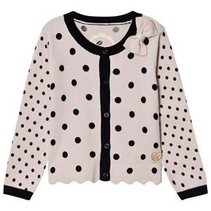 Image of Guess Girls Jumpers and knitwear Pink Pink and Black Spot Knit Cardigan with Bow