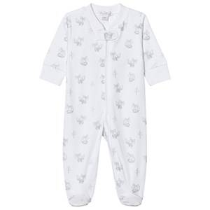 Image of Kissy Kissy Unisex All in ones White White and Silver Fox Print Jersey Footed Baby Body