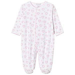 Image of Kissy Kissy Girls All in ones Pink Pink Floral Heart Print Jersey Footed Baby Body