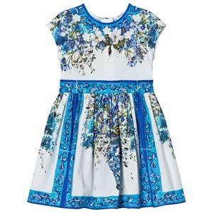 Image of Dolce & Gabbana Girls Dresses Blue Blue White Floral Majolica Print Dress