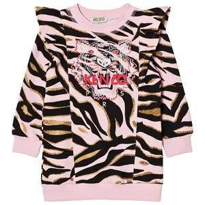 Image of Kenzo Girls Dresses Pink Pink Tiger Print Frill Shoulder Sweat Dress