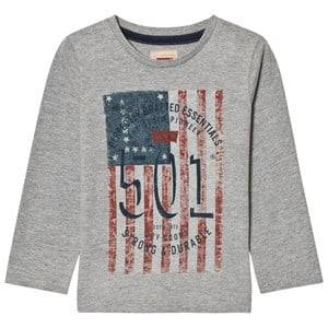 Levis Kids Boys Tops Grey Grey Marl 501 Flag Print Long Sleeve Tee