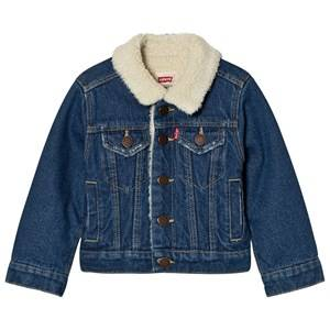 Levis Kids Boys Coats and jackets Blue Blue Denim Trucker Jacket Teddy Lining