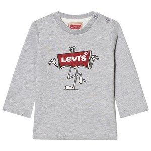 Levis Kids Boys Tops Grey Grey Marl Branded Logo Long Sleeve Tee