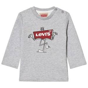 Levis Kids Boys Tops Grey Grey Marl Branded Logo Long Sleeve Tee