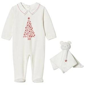 Absorba Unisex All in ones Cream Cream Christmas Tree Print Velour Footed Baby Body and Comforter