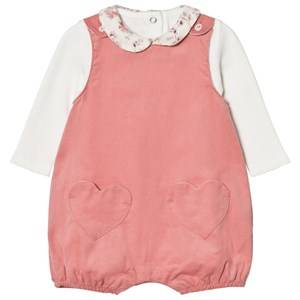 Image of Absorba Girls All in ones Pink Cream Tee with Floral Collar and Pink Dungarees Set