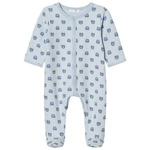 Image of Absorba Boys All in ones Blue Pale Blue Bear Print Jersey Footed Baby Body