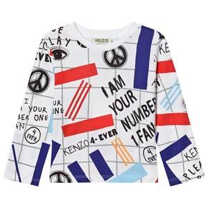 Kenzo Boys Tops White White All Over Print Long Sleeve Tee