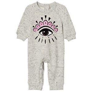Kenzo Girls All in ones Grey Baby One-Piece Eye Print Grey Marl
