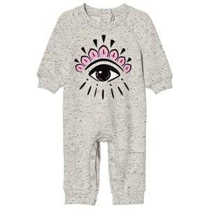 Kenzo Girls All in ones Grey Baby One-Piece Eye Print Grey Marl