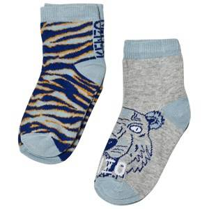 Kenzo Boys Underwear Blue Blue Multi Tiger and Animal Print 2 Pack of Socks