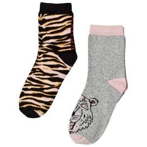 Kenzo Girls Underwear Pink Pink Multi Animal Print and Tiger 2 Pack of Socks