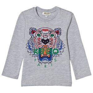 Kenzo Boys Tops Grey Grey Marl Tiger Print Long Sleeve Tee