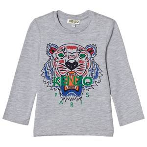 Kenzo Boys Tops Grey Grey Marl Tiger Print Long Sleeve Tee