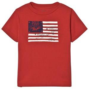 Image of Ralph Lauren Boys Tops Red Red Cotton Jersey Graphic Tee