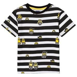 Fabric Flavours Boys Tops Black Black and White Minions Jail Stripe T-Shirt
