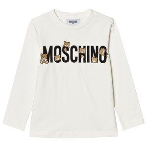 Moschino Kid-Teen Girls Tops White White Multi Bear Logo Long Sleeve Tee