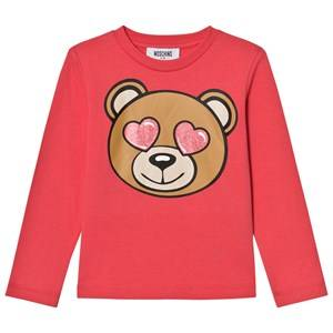 Moschino Kid-Teen Girls Tops Pink Pink Heart Eye Bear Print Tee