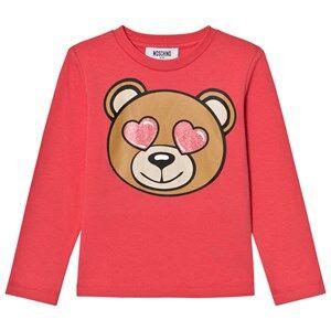 Moschino Kid-Teen Girls Tops Pink Pink Heart Eye Bear Print Tee