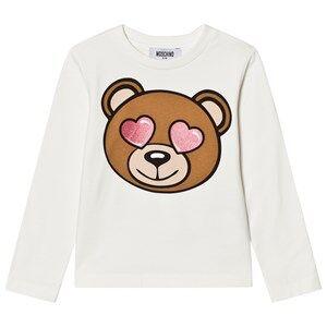 Moschino Kid-Teen Girls Tops White White Heart Eye Bear Print Tee