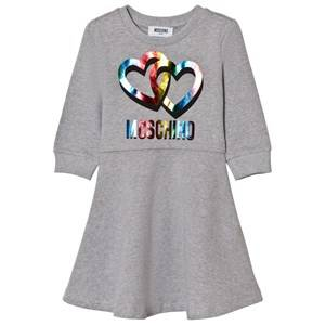 Image of Moschino Kid-Teen Girls Dresses Grey Grey Rainbow Heart Branded Sweat Dress