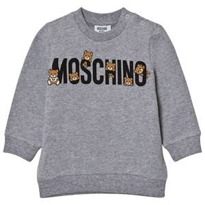 Moschino Kid-Teen Unisex Jumpers and knitwear Grey Grey Multi Bear Branded Sweatshirt