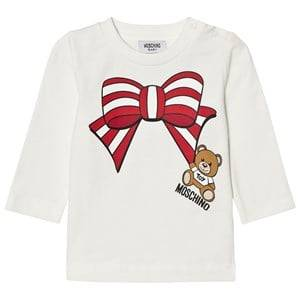 Moschino Kid-Teen Girls Tops Cream Cream Christmas Bow Bear Tee