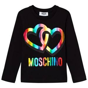 Moschino Kid-Teen Girls Tops Black Black Rainbow Heart Logo Long Sleeve Tee