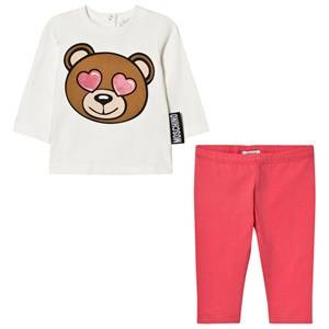 Moschino Kid-Teen Girls Clothing sets Pink Cream and Pink Heart Eye Bear Print Tee and Leggings Set