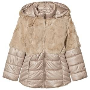 Mayoral Girls Coats and jackets Beige Beige Faux Fur Puffer Coat
