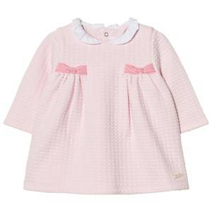Image of Mayoral Girls Dresses Pink Pink Quilted Collared Dress with Side Bows