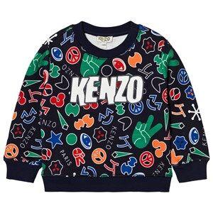 Kenzo Boys Jumpers and knitwear Navy Navy Multi All Over Logo Print Sweatshirt