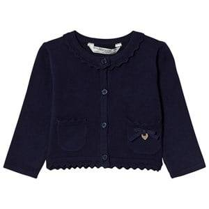 Image of Mayoral Girls Jumpers and knitwear Navy Navy Knit Cardigan with Scalloped Collar