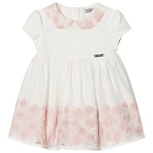 Image of Mayoral Girls Dresses Pink Off-white and Pink Rose Applique Tulle Dress