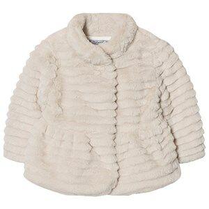 Mayoral Girls Coats and jackets Beige Beige Textured Faux Fur Coat
