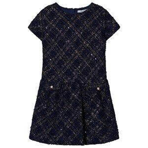 Mayoral Girls Dresses Navy Navy Lurex Jersey-Tweed Dress