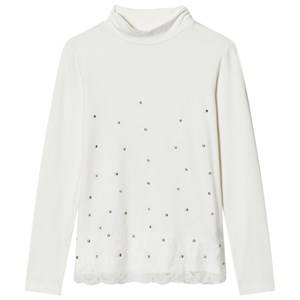Mayoral Girls Tops Cream Cream Studded Turtleneck Tee