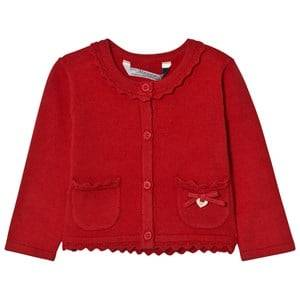 Image of Mayoral Girls Jumpers and knitwear Red Red Knit Cardigan with Scalloped Collar
