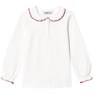 Mayoral Girls Tops White White Peter Pan Collar Jersey Top with Red Trim