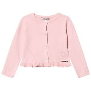 Image of Mayoral Girls Jumpers and knitwear Pink Pink Knitted Cardigan with Frill Hem
