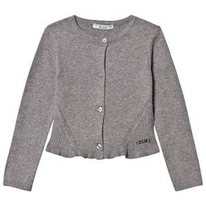 Image of Mayoral Girls Jumpers and knitwear Grey Grey Knitted Cardigan with Frill Hem
