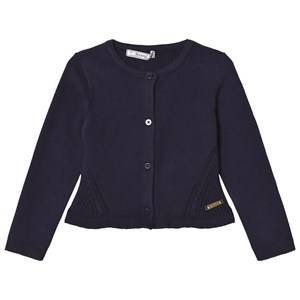 Image of Mayoral Girls Jumpers and knitwear Navy Navy Knitted Cardigan with Frill Hem