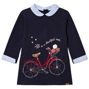 Image of Mayoral Girls Dresses Navy Navy Bike Embroidered Sweat Dress