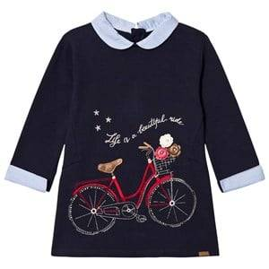 Image of Mayoral Girls Dresses Navy Navy Bike Embroidered Sweat Dress