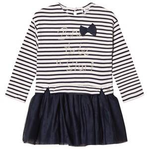 Image of Mayoral Girls Dresses White White and Navy Stripe Jumper and Tulle Skirt Dress