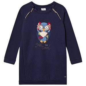 Image of Mayoral Girls Dresses Navy Navy Owl Embroidered Sweat Dress